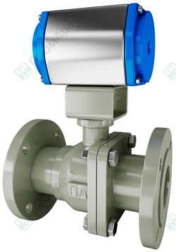 Pneumatically actuated ball valves. Image