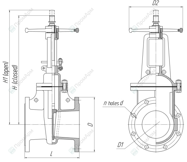 Gate valves 30s41nzh (30с41нж). Lightweight version. Dimensions. Image