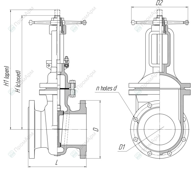 Gate valves 30s41nzh (30с41нж). Dimensions. Image 1