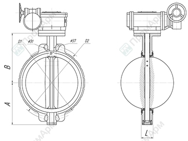 Basic overall and connection dimensions of wafer type butterfly valves. DN 450-600 with reduction gear. Image