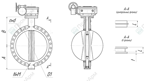 Basic overall and connection dimensions of wafer type butterfly valves. DN 700-1200 with reduction gear. Image