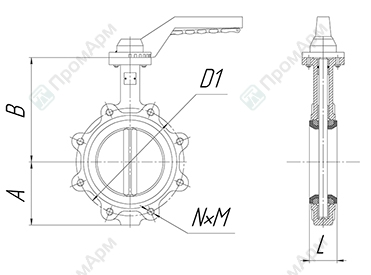 Basic overall and connection dimensions of lug wafer butterfly valves. DN 40-200 with handle. Image