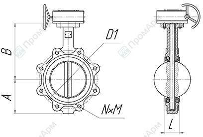 Basic overall and connection dimensions of lug wafer butterfly valves. DN 40-600 with reduction gear. Image