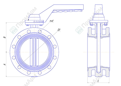 Basic overall dimensions of the flanged butterfly valves PA 300 series. DN 50-150 mm with a handle. Image