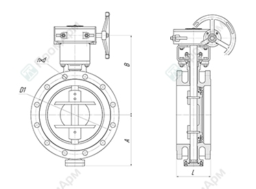Basic overall and connection dimensions of butterfly valves PA 700. DN 50-500 with reduction gear. Image