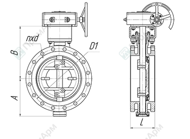 Basic overall and connection dimensions of flanged butterfly valves PA 900. Image